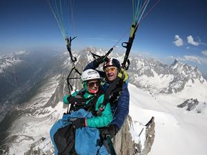 Land on Mont Blanc paragliding tandem